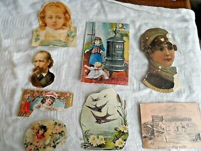 Antique Lot of 8 Victorian Trade Cards & Scrap - Assorted