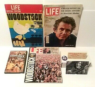 Woodstock Collection: Magazines, Ticket, John Sebastian Autograph, Button, Movie