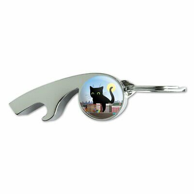 Giant Black Cat Playing with Cars Metal Whistle Bottle Opener Keychain
