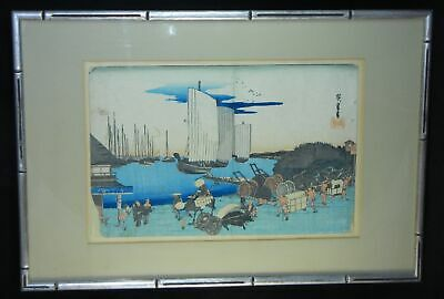 1832 ANTIQUE Original Japanese Woodblock Print Utagawa Hiroshige I  Framed