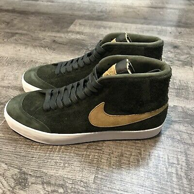 classic fit d0294 b72bb NIKE Men s SB Zoom Blazer Mid QS Sequoia Gold Athletic Shoes Size 11.5