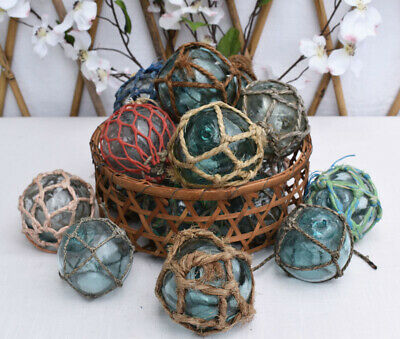 """Vintage Japanese 3"""" Netted Glass Fishing Floats, Lot of 12"""