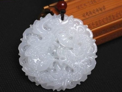 100% natural hand-carved Chinese jade pendant - dragon PhoenixNatural