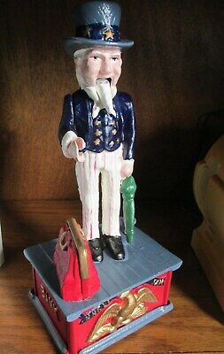 UNCLE SAM Die Cast Iron Mechanical Penny Coin Bank , Collector's Edition