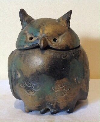 Vintage Cast Iron OWL Shape Incense Burner Japan Kodo