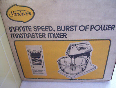 Vtg NIB Sunbeam Infinite Speed-Burst of Power Mixmaster-Almond Stand Mixer-Bowl