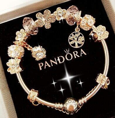 Authentic Pandora Bracelet Silver Bangle with Gold Flower European Charm