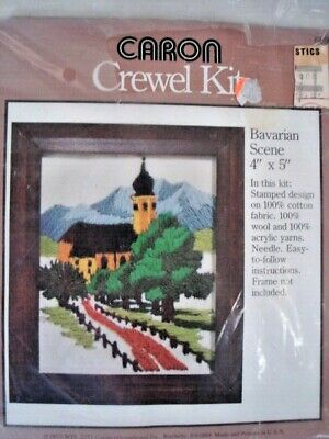 "Vintage 1977 Caron Crewel Embroidery Kit #6099 Bavarian Scene Church 4x5"" NOS"