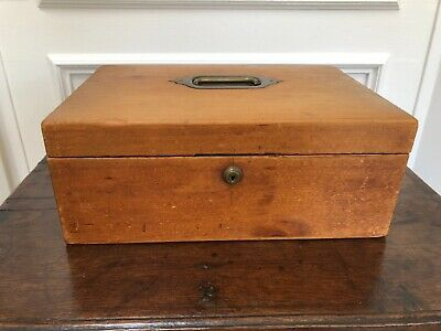 Antique Vintage Elm Document Jewelry Box With Handle & Original Lining