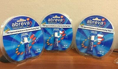LOT OF 3 Abreva Cold Sore Fever Blister Treatment Cream Docosanol 10% 2g