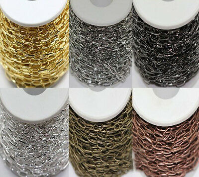 1/10M Silver/Golden Plated Metal Flat Crossed Chain DIY Charm Finding 10x5mm
