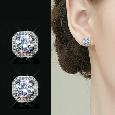 New Women Jewelry Gift Crystal Square Stone Stud Earrings 925 Sterling Silver
