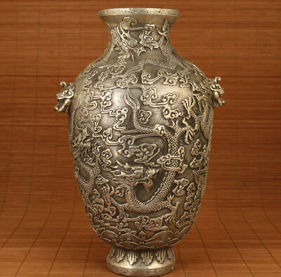 Very Big chinese old Copper Hand Relief Dragon Statue Vase Collectable