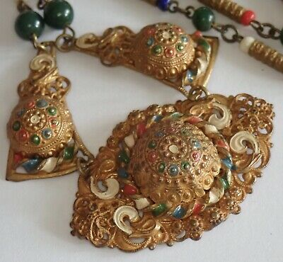 Colorful Antique Art Deco Gilt Brass Enamel Multi Color Czech Glass Necklace