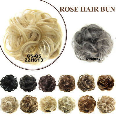 Womens Messy Curly Bun Hair Piece Wig Scrunchie Ponytail Hair Extensions Brown