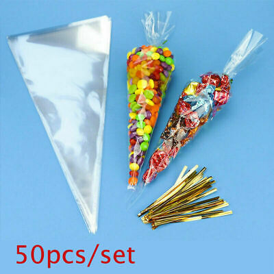 50Pcs Large Cello Cone Sweet Treat Display Favor Gift Party Bags | Clear | Gifts