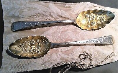Pair of Antique Georgian Sterling Silver Berry Spoons London 1804 by John Blake
