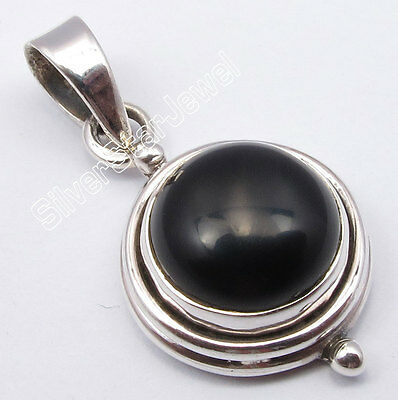 925 Pure Silver Natural CABOCHON BLACK ONYX STONE ANTIQUE STYLE Pendant 1""