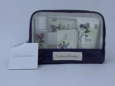 Crabtree & Evelyn Iris Gift Set Lotion Bar Soap Shower Gel Purple Zip Pouch New