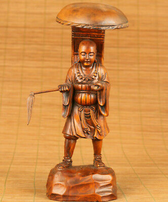 Antique old boxwood hand carving Xuanzang Buddha statue figue decoration gift