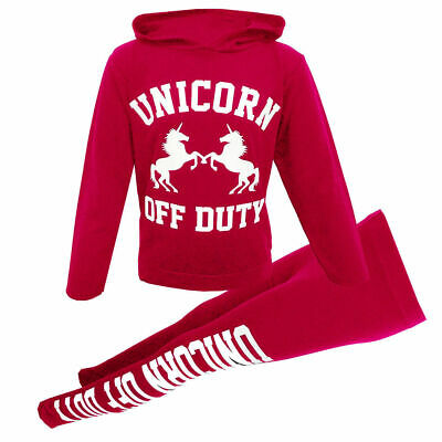 Girls Unicorn Off Duty Hooded Jog Set Kids 2 piece Tracksuit Cerise UK 2019