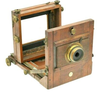 Vintage Underwood Tail Board camera with lens & Plates,Brass & Wood Plate camera