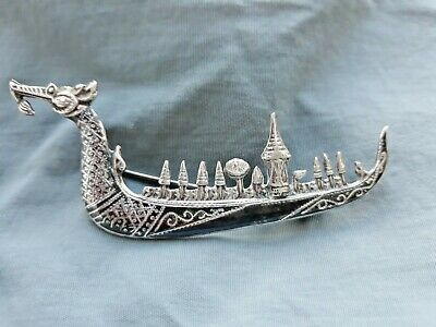 Vintage antique stamped Siamese sterling silver Dragon Boat brooch 1940's/50's