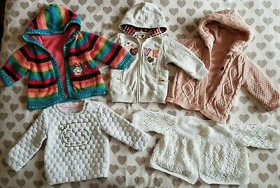 Girls Hoodies Jumper & Cardigan Bundle 6-9 Months X 5