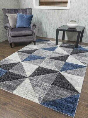 Small Large Size Silver Dark Blue Grey Triangles Floor Mat Rug Hall Runner Cheap