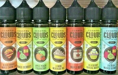 COASTAL CLOUDS 50ML Premium American E Liquid Juice Full Range 70/30 VG/PG 0MG