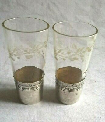 Antique French Liquor Glasses With Solid Silver 800 Minerva For Cabinet