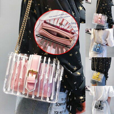 9e38f549f1e6 VINTAGE CLEAR WOMEN PVC Shoulder Crossbody Bags Jelly Candy Beach ...