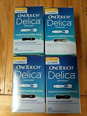 Delica One touch 33 Gauge Lancets  4 boxes sealed Expire 2020, 2021& 2022