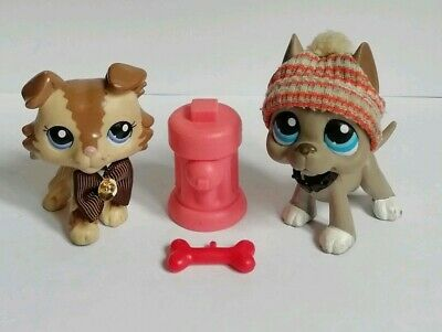 littlest pet shop bundle Collie dog and Great Dane with accessories