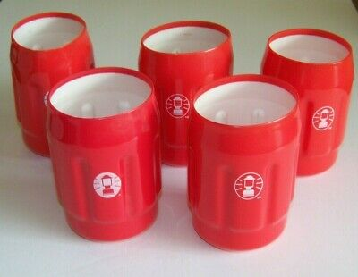 Coleman Lantern Logo 12oz. Can Holders Koozies, Lot of 5, Red, for Beer or Soda