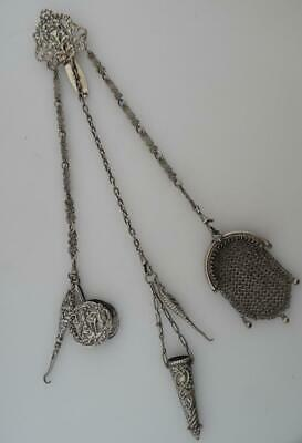 Victorian Antique Sterling Silver 1892 Hallmarked Chatelaine Button Hook etc(LE8