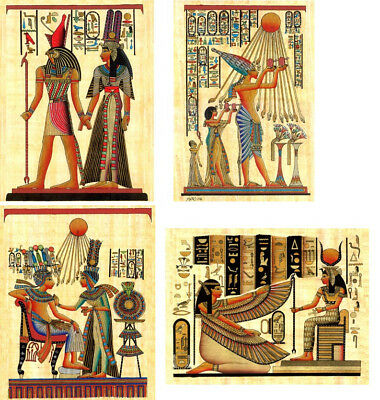 4 Egyptian Handmade Papyrus Paintings – Pack of 4 sheets