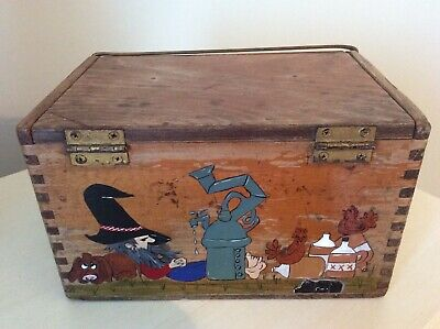 1 of a Kind Vintage Folk Art Hand Painted Moonshine Still Dovetailed Wooden Box