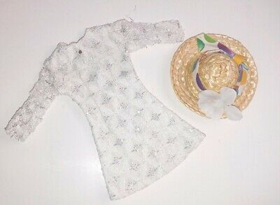Vintage Barbie Tressy Same Size Doll Mod White Silver Sparkle Dress & Flower Hat