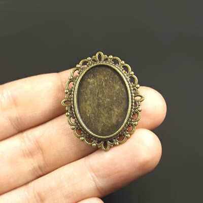 Broches Support de Cabochon Camée Ovale 25x18mm couleur Bronze - LOT de 2 ou 10