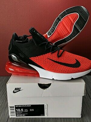 Nike Air Max 270 Flyknit AO1023-601 Chile Red Black Men's Running Shoes sz 10.5