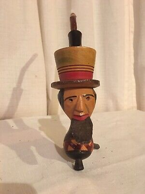Vintage Hand Crafted Large Wooden Abe Lincoln Pipe - Marked Italy