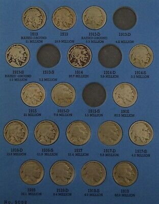 "1913-1938-PDS Buffalo Nickel Set ""Circ-AU"" *Free S/H After 1st Item*"