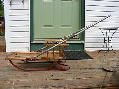 """Vintage SEARS 30"""" Wooden Metal Childs Wood Snow Sled with Arms & back rest"""