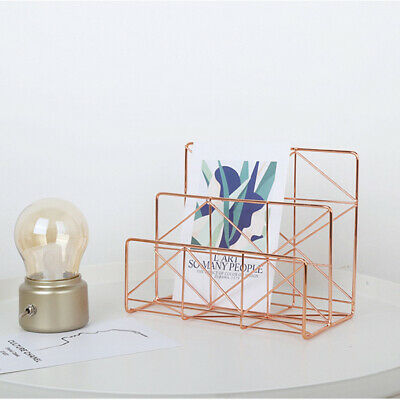 1 Pc Document Storage Rack Wrought Iron Simple Book Organizer for Office Desktop