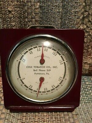 Vintage Antique Cole Tobacco Plastic / Glass Non Tin Porcelain Thermometer Sign