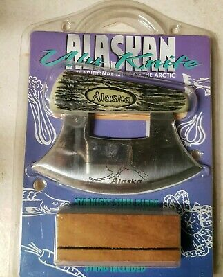 Alaskan Ulu Knife, Traditional of the Artic, Stainless Steel Blade,  w/stand