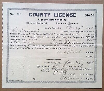 Antique 1904 Sonoma County California 3 Month Liquor License Pre-Prohibition