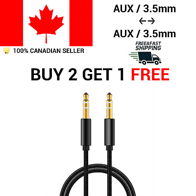 3.5 mm Nylon Braided  Stereo Auxiliary Aux Cable 1.5M 5Feet Male to Male