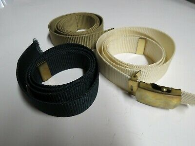 3 Vintage Nylon Web Belts with Brass Buckle USA Military Style Tan, Navy, Ivory